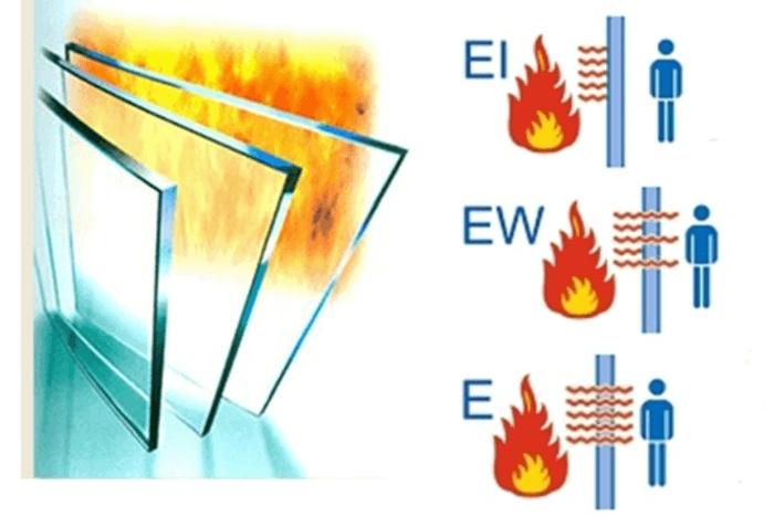 Điểm khác biệt giữa 3 loại kính chống cháy E, EW, EI