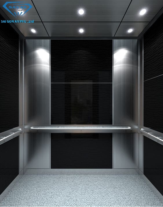 Trang trí vách thang máy bằng inox
