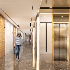 Trang trí sảnh chờ thang máy bằng inox mạ vàng