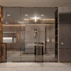 Nẹp inox vách tường làm cửa phòng tắm