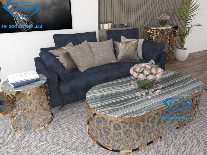 Bàn sofa với chân bàn cắt laser đã hoàn thiện