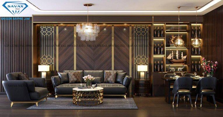 Nội thất inox mạ vàng kết hợp với sàn và vách gỗ đẹp