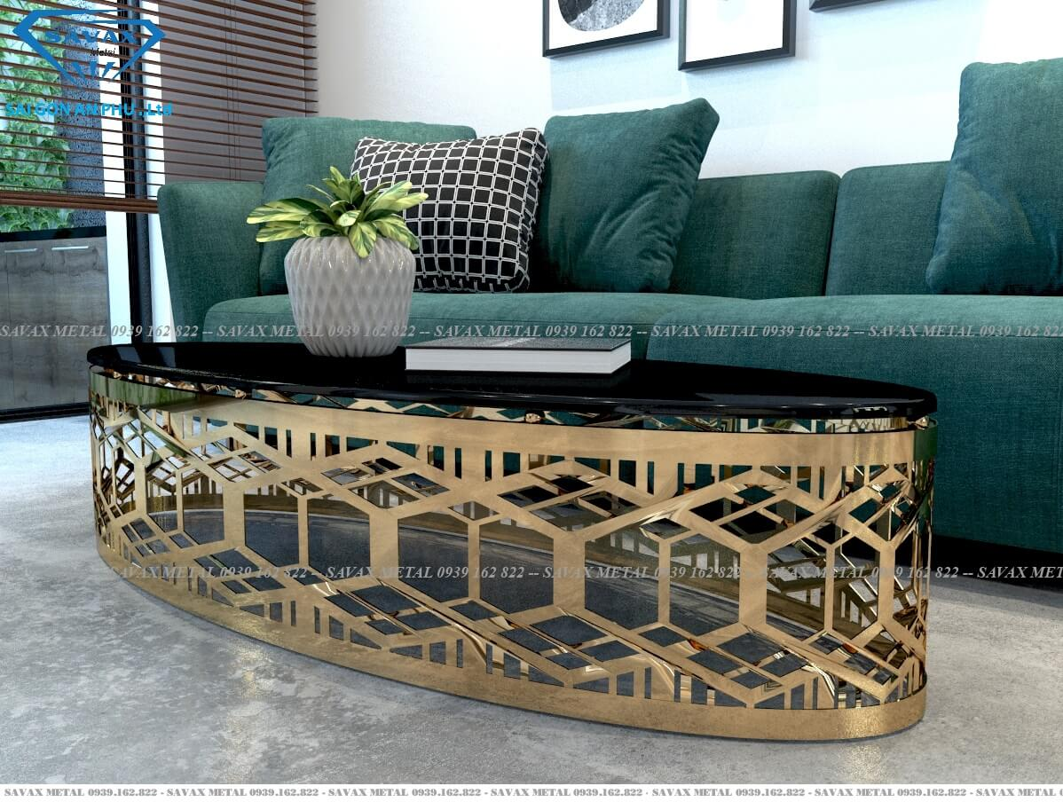 Mẫu bàn ovan mặt đá luxury cho phòng khách